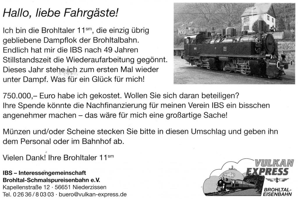 Brohl -Einweihungsfahrt 1b - Spendenaufrufjpg