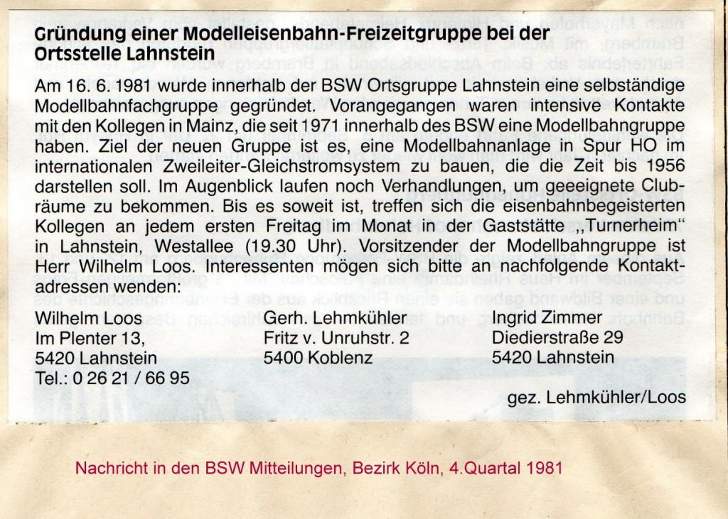 MEC Lahnstein-Koblenz- Gründungsmitteilung